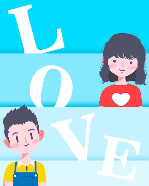 Couple saint valentin Vecteur Premium