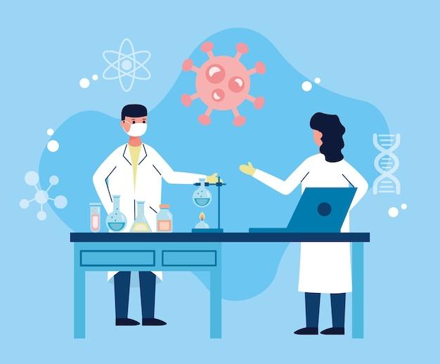 Couple De Scientifiques Wotking En Laboratoire Avec Recherche De Vaccin Portable Vecteur Premium