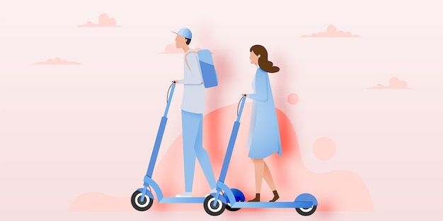 Un Couple Sur Un Scooter électrique Vecteur Premium