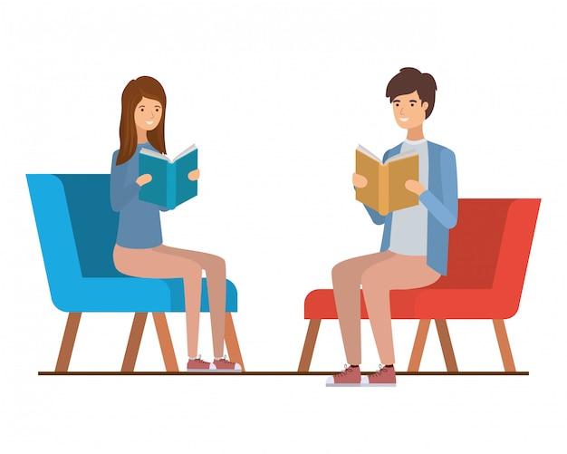 Couple, Séance, Chaise, Livre, Mains Vecteur Premium