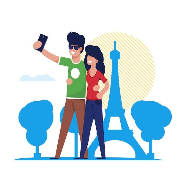 Couple, selfie, tour eiffel, paris Vecteur Premium