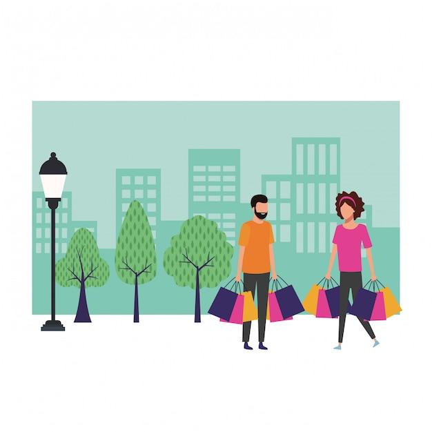 Couple shopping dessin animé Vecteur Premium