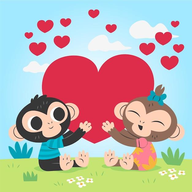 Couple De Singes Dessinés Pour La Saint-valentin Vecteur gratuit