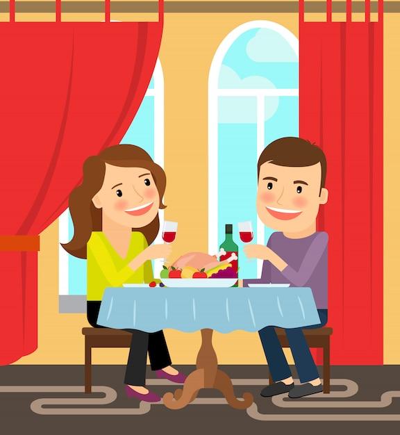 Couple, table, célébrer Vecteur Premium