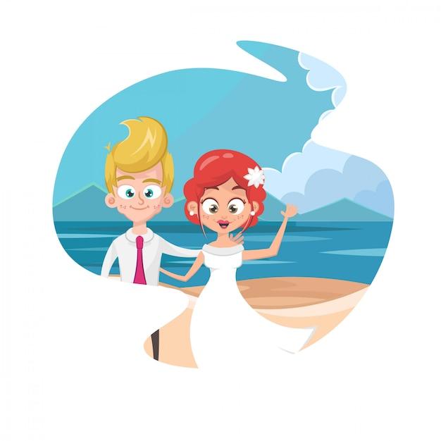 Couple, tenant mains, plage Vecteur Premium