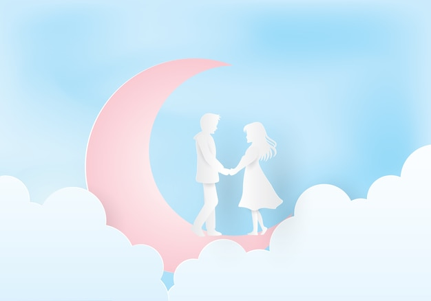 Couple Tenant Les Mains Sous La Lune Vecteur Premium