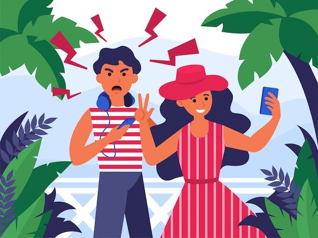 Couple De Touristes Prenant Selfie En Vacances Vecteur gratuit
