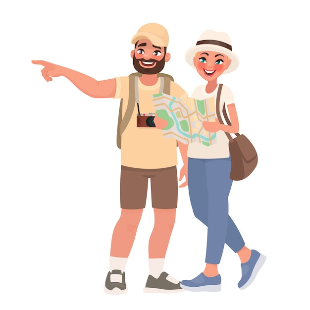 Couple De Touristes Visitant Les Sites Touristiques. Voyage Dans De Nouveaux Pays. Les Gens Et Le Tourisme Vecteur Premium