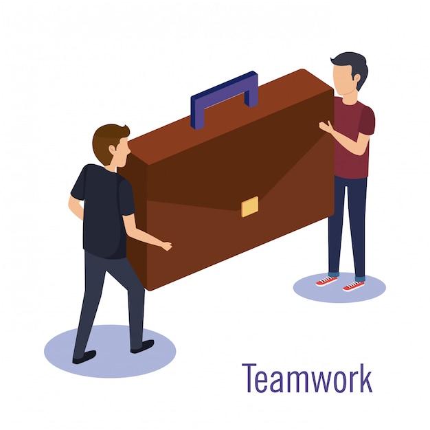 Couple travail d'équipe avec portefeuille Vecteur gratuit