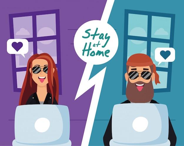 Couple Utilisant Des Ordinateurs Portables Pour Communiquer Et Rester à La Maison Vecteur Premium