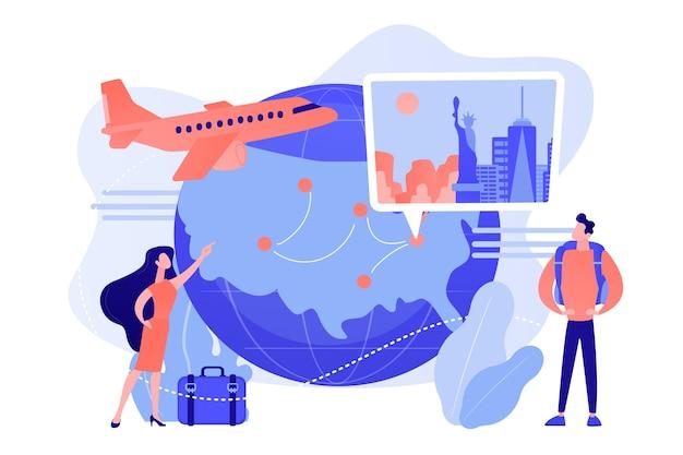 Couple En Vacances, Voyage Autour Du Monde. Tour D'agence De Voyage Vecteur gratuit