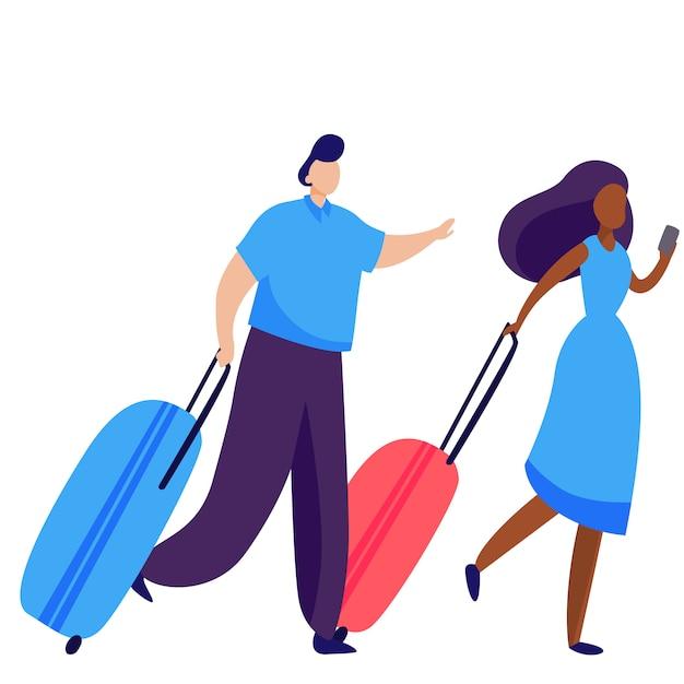 Couple de valises à roulettes Vecteur gratuit