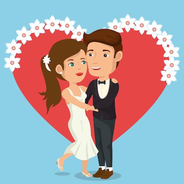 Un couple vient de se marier avec des personnages d'avatars de coeurs Vecteur gratuit