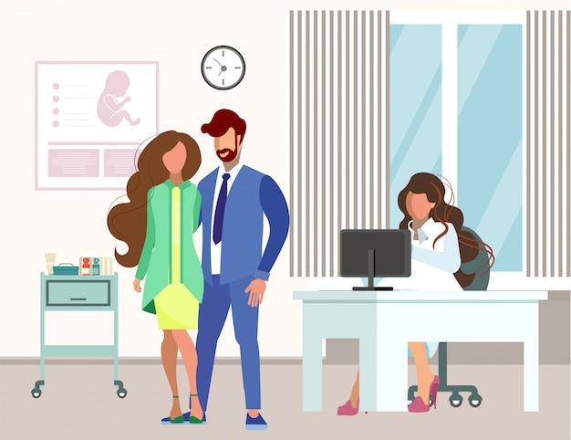 Couple, visite, gynécologue, plat, illustration Vecteur Premium