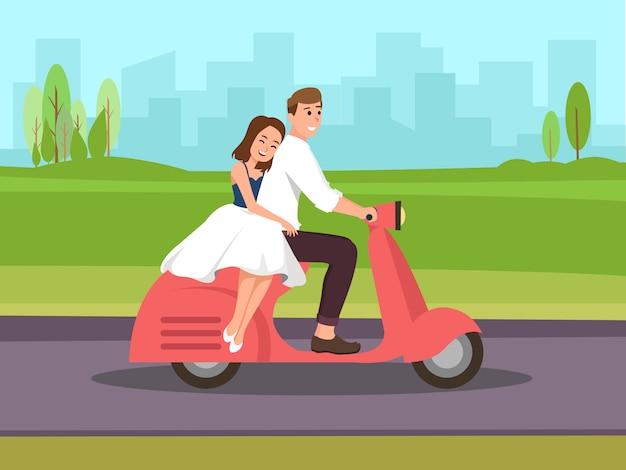 Couple voyage en scooter Vecteur Premium