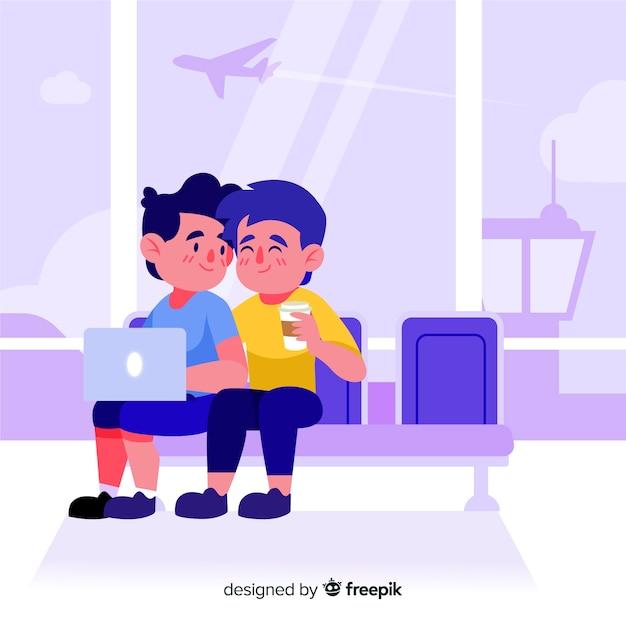 Couple voyageant à la main style dessiné Vecteur gratuit
