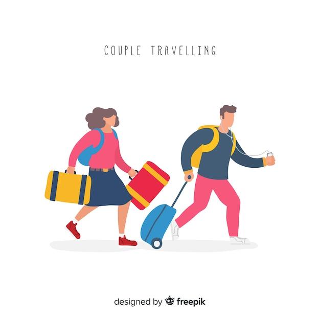 Couple voyageant Vecteur gratuit