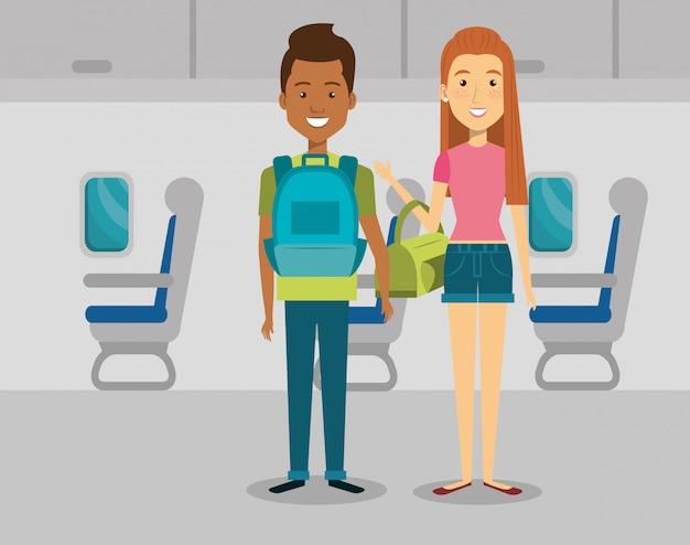 Couple de voyageurs dans l'avion Vecteur gratuit