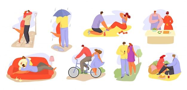 Couples D'aimer Les Gens Ensemble Ensemble D'activités Quotidiennes Illustration Isolé. Vecteur Premium