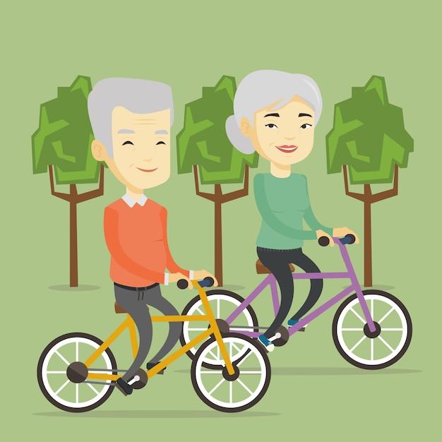 Couples Aînés, équitation, Sur, Vélos, Dans Parc Vecteur Premium