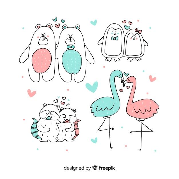 Couples d'animaux saint-valentin Vecteur gratuit