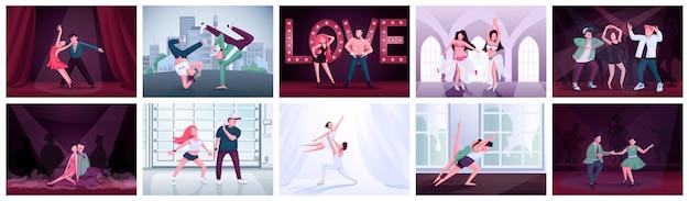 Couples Dansant Ensemble De Couleurs Plates. Ballet, Twist, Participants Au Concours De Danse Latino. Tango, Rumba, Contemp, Breakdance Interprètes Masculins Et Féminins Personnages De Dessins Animés 2d Vecteur Premium