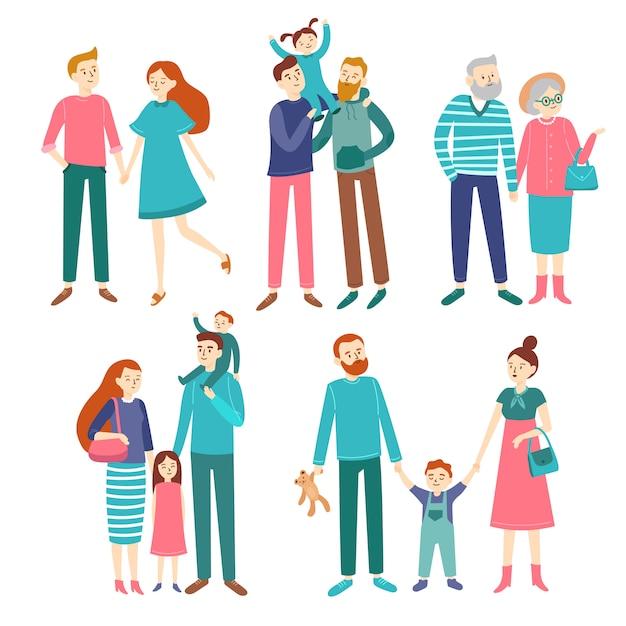 Couples de famille. père et mère avec enfants, frère et soeur. Vecteur Premium
