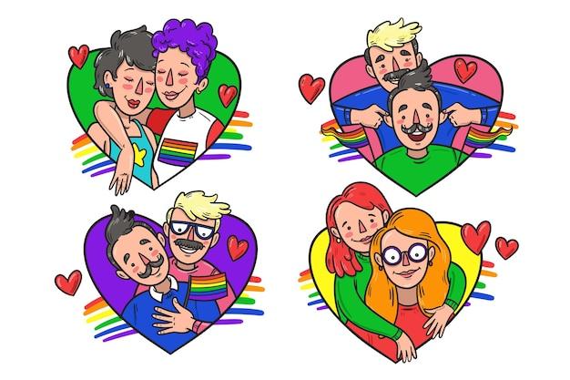 Les Couples Et Les Familles Célèbrent Le Jour De La Fierté Vecteur gratuit