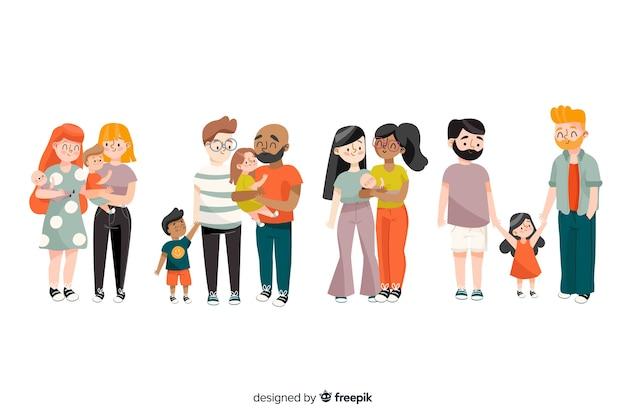 Couples et familles du jour de la fierté Vecteur gratuit