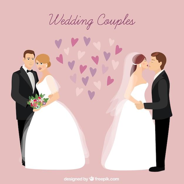 Couples de mariage à l'amour Vecteur gratuit