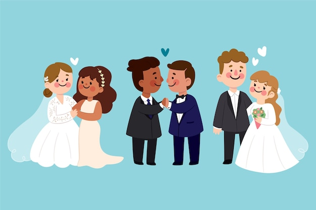 Couples De Mariage Au Design Plat Vecteur gratuit