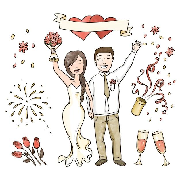 Couples De Mariage Dessinés à La Main Célébrant Vecteur gratuit