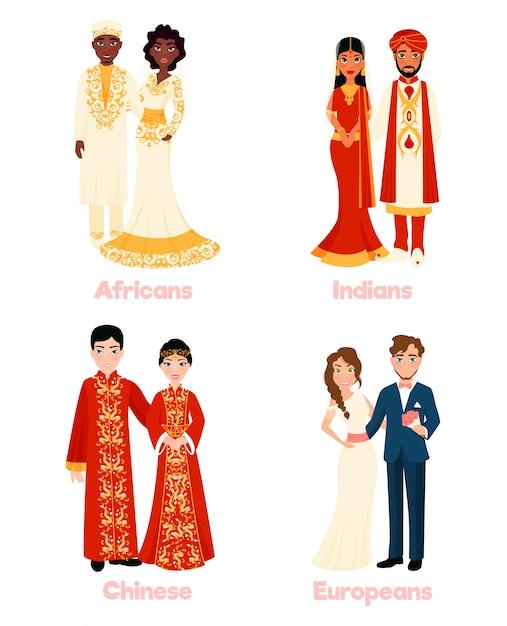 Couples de mariage multiculturels Vecteur gratuit