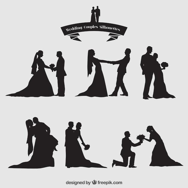 Couples De Mariage Silhouettes Set Vecteur gratuit