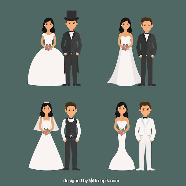 Les couples mariés avec des styles différents Vecteur gratuit