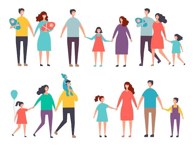 Couples masculins et féminins. enfants et couples de famille isoler sur blanc Vecteur Premium