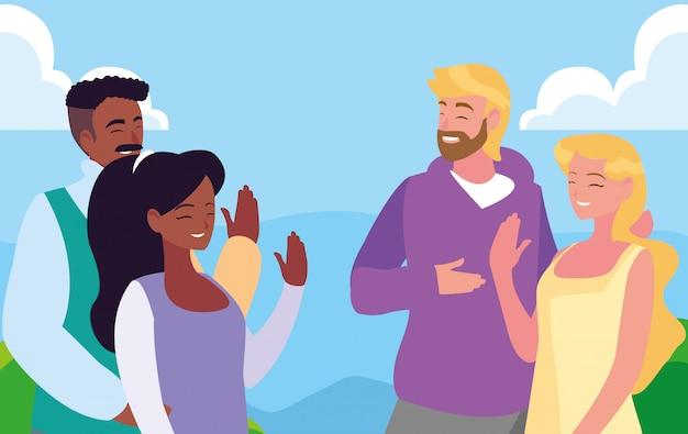 Couples, parler ensemble, dehors Vecteur Premium
