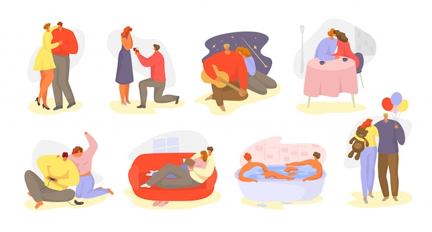 Couples De Personnes Dans L'illustration Isolée De La Relation Amoureuse Romantique. Vecteur Premium