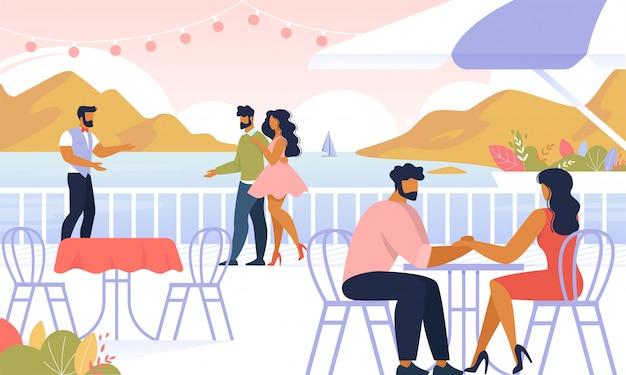 Couples se détendre à l'extérieur, s'asseoir dans un café en plein air, Vecteur Premium