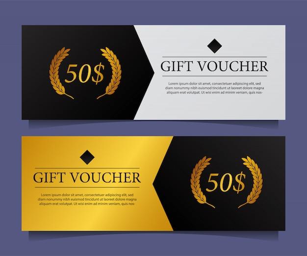 Coupon de carte cadeau élégant élégant moderne avec accent doré. Vecteur Premium