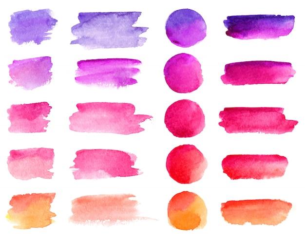 Coups de pinceau aquarelle coloré. Vecteur Premium