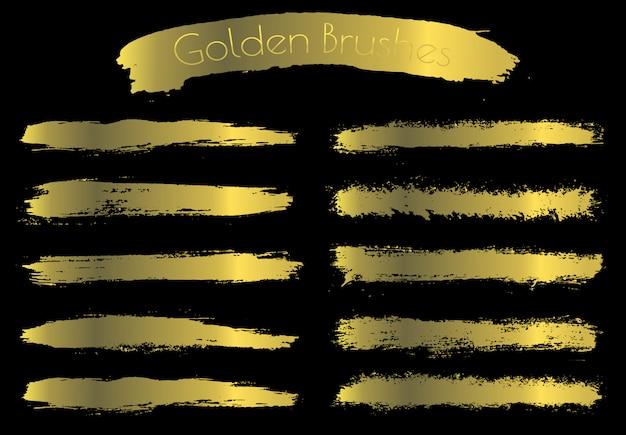 Coups de pinceau d'or Vecteur Premium