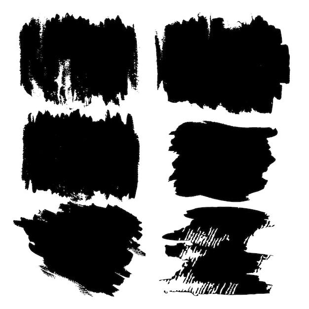 Coups de pinceau peints à la main noirs Vecteur gratuit