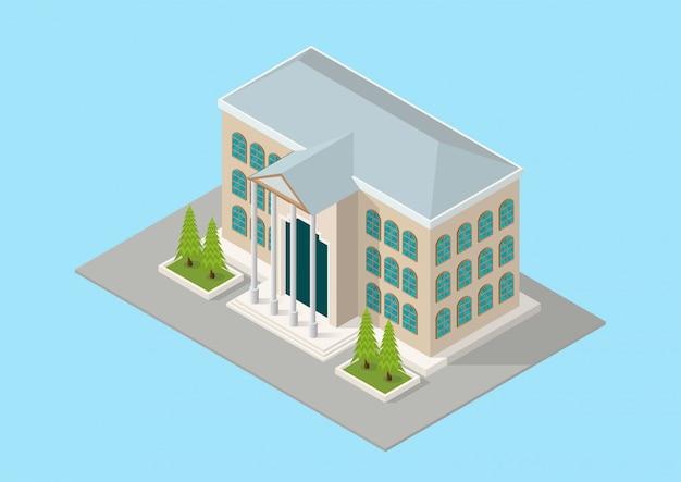 Cour ou école de construction isométrique Vecteur Premium