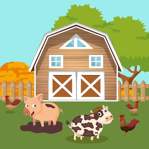 Cour de ferme avec grange et scène d'animaux Vecteur Premium