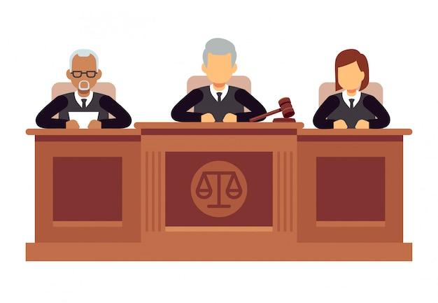 Cour Suprême Fédérale Avec Des Juges. Jurisprudence Et Droit Vecteur Concept Vecteur Premium