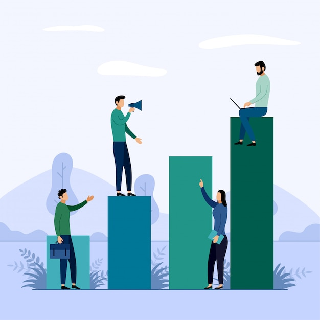 Courbe de croissance de carrière, illustration de concept d'affaires Vecteur Premium