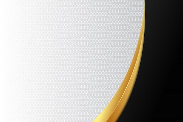 Courbe élégante or et noir sur fond blanc Vecteur Premium