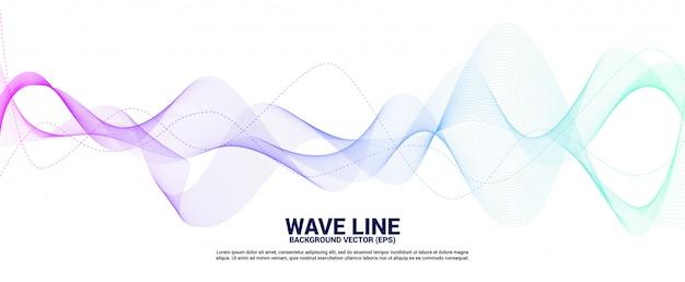 Courbe de ligne d'onde sonore bleu et vert sur fond blanc. Vecteur Premium