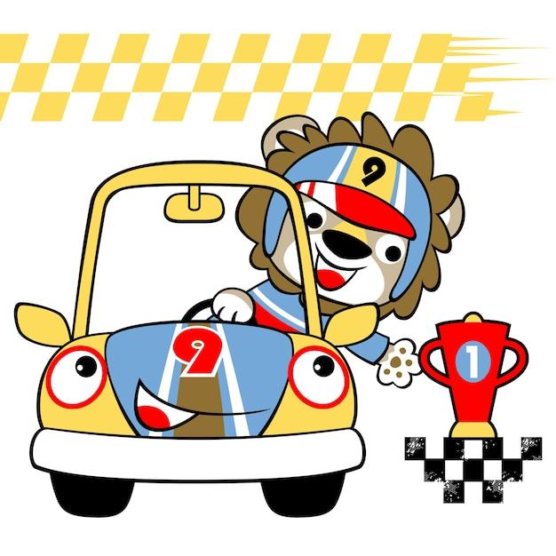 Coureur de voiture avec trophée, vecteur de dessin animé Vecteur Premium